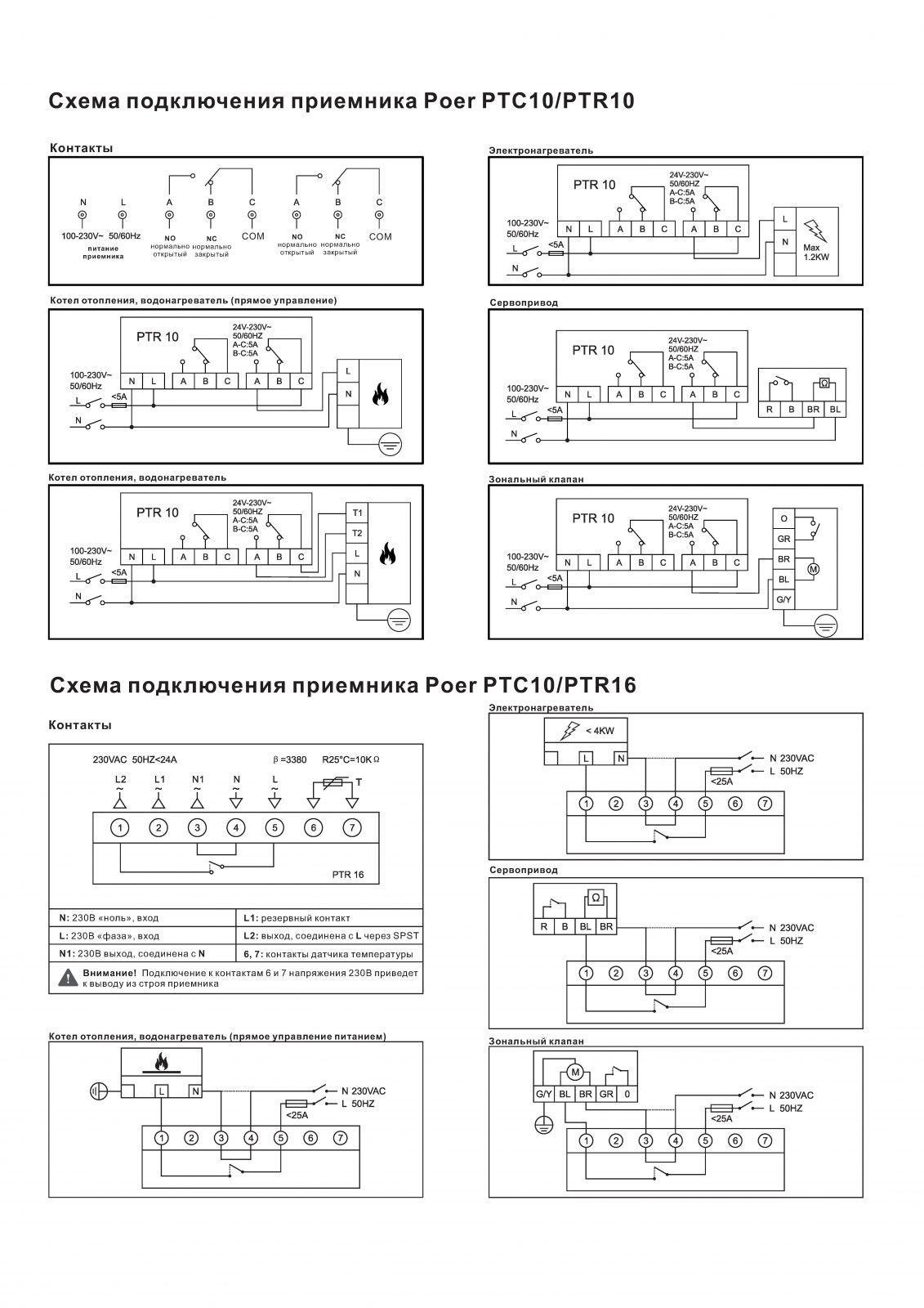 Схема подключения термостата Poer